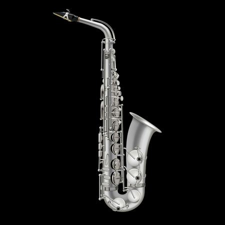 photorealistic saxophone vector illustration isolated on a black background Vettoriali