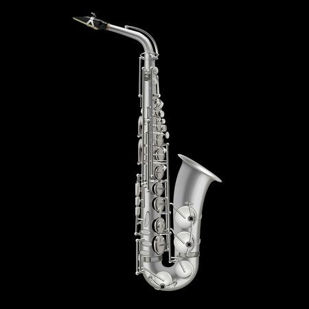 photorealistic saxophone vector illustration isolated on a black background Illustration