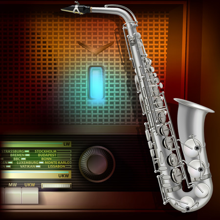 retro radio: abstract music background with saxophone and retro radio