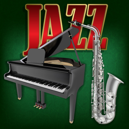 abstract grunge music background with saxophone and grand piano on green Vector