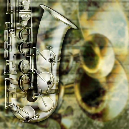 brass instrument: abstract grunge background with saxophone and musical instruments