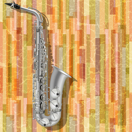 abstract music grunge background with silver saxophone Vector