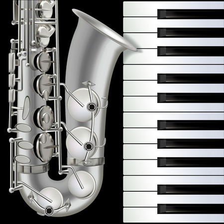 abstract musical background with saxophone and piano on black