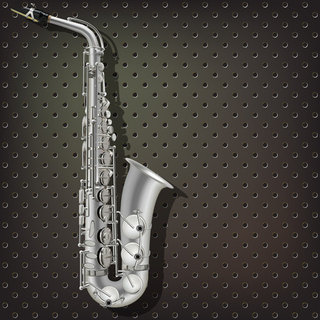 saxophone: abstract music dark gray background with silver saxophone Illustration