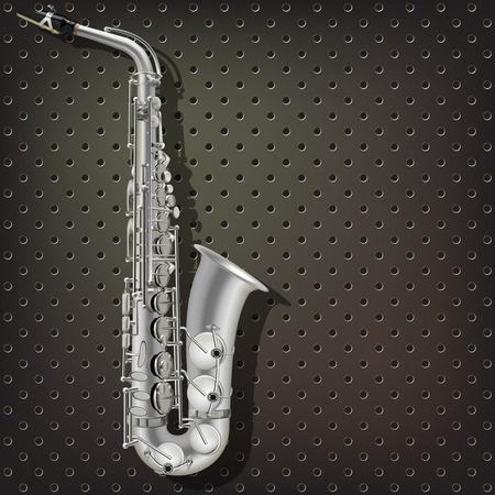 saxof�n: m�sica de fondo abstracto de color gris oscuro con el saxof�n de plata Vectores