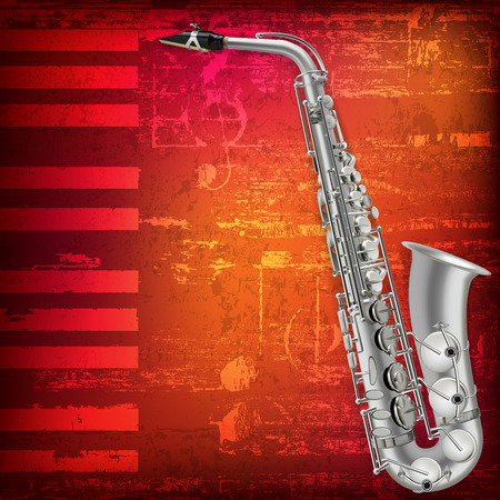 saxophone: abstract grunge piano background with silver saxophone Illustration