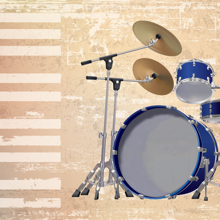 drum kit: abstract beige grunge background with drum kit
