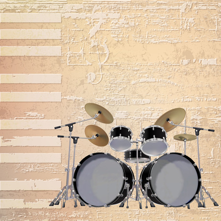 drum kit: abstract beige grunge piano background with black drum kit Illustration