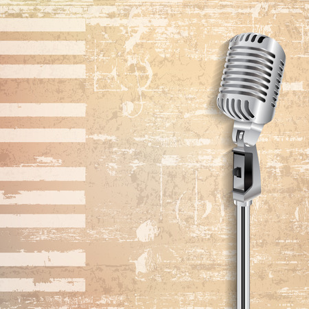 abstract beige grunge piano background with retro microphone Stock Illustratie