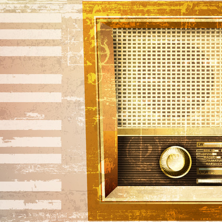 abstract beige grunge piano background with retro radio Vector