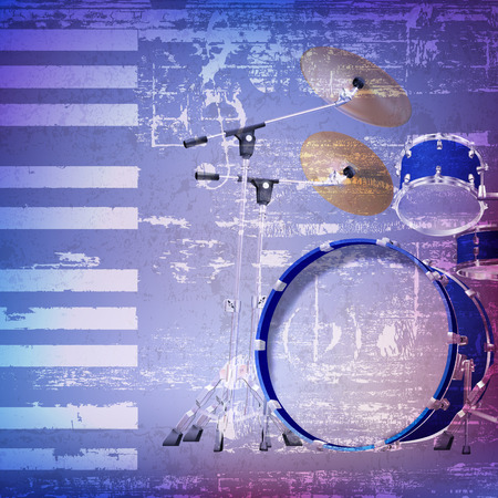 drum kit: abstract blue grunge background with drum kit