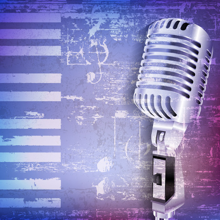 retro microphone: abstract blue grunge piano background with retro microphone