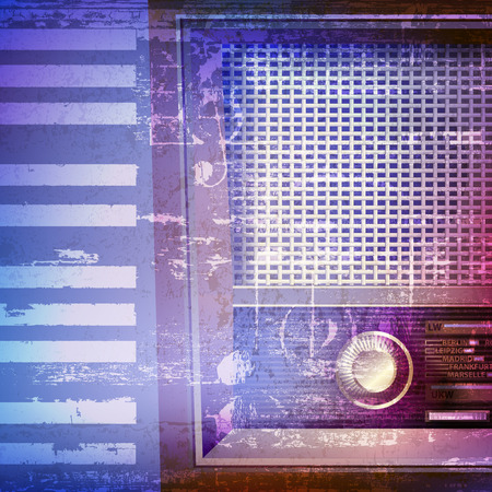 retro radio: abstract blue grunge piano background with retro radio