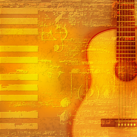 abstract yellow grunge piano background with acoustic guitar