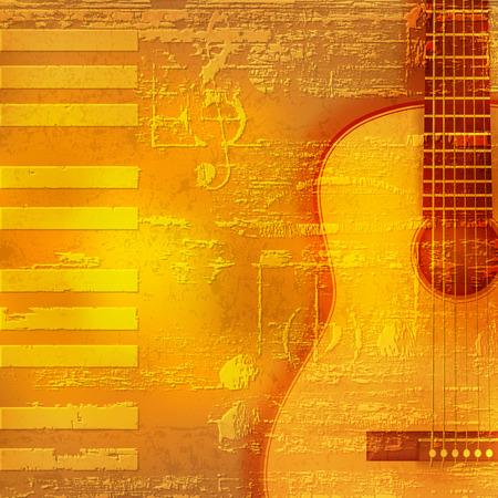 guitarra acustica: Resumen fondo amarillo del piano del grunge con la guitarra acústica