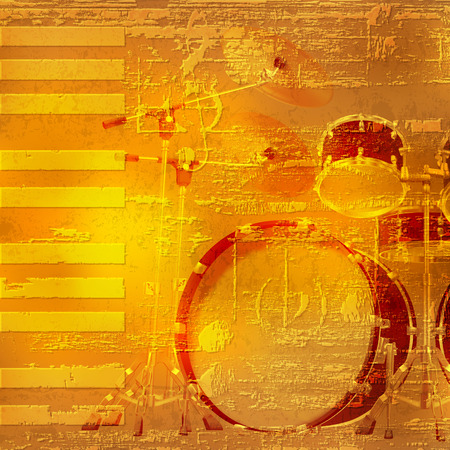 drum kit: abstract yellow grunge piano background with drum kit