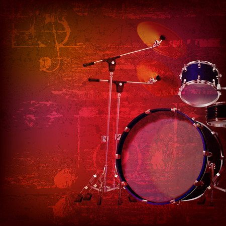 drum kit: abstract red sound grunge background with drum kit Illustration