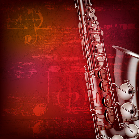 abstract red sound grunge background with saxophone Çizim
