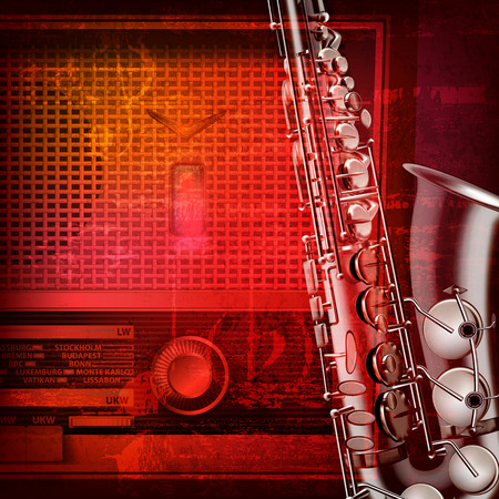 retro radio: abstract red sound grunge background with retro radio and saxophone