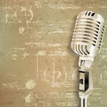retro microphone: abstract green grunge sound background with retro microphone
