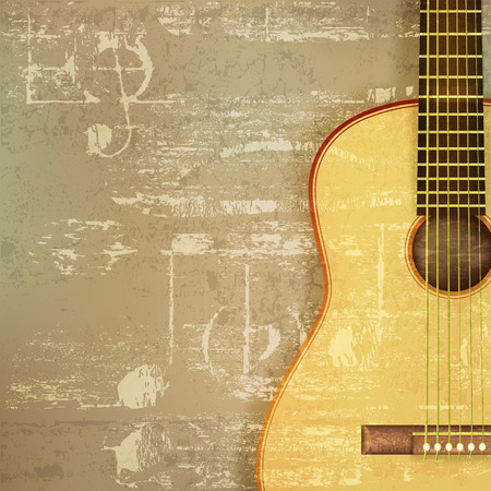 old sheet music: abstract green sound grunge background with acoustic guitar
