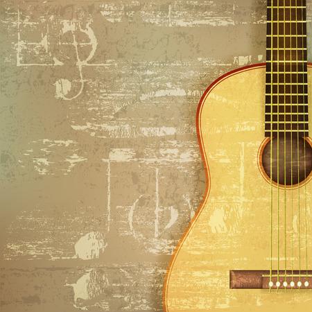 guitarra acustica: fondo verde abstracto sonido grunge con la guitarra acústica Vectores