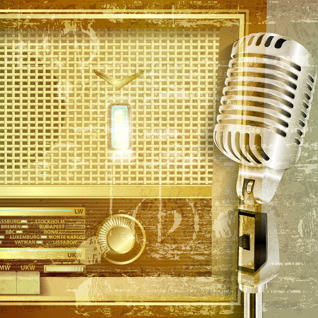 retro radio: abstract green sound grunge background with retro radio and microphone