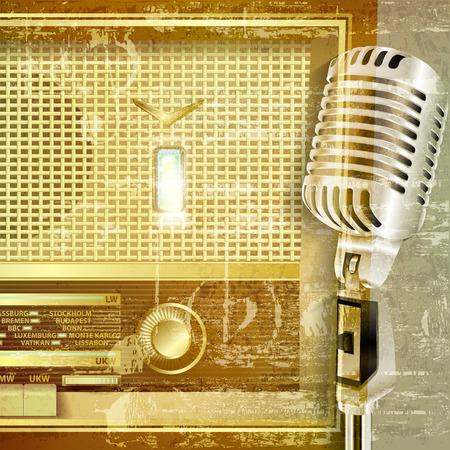 radio retr�: astratto verde grunge suono di sottofondo con radio retr� e microfono