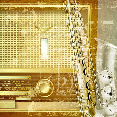 retro radio: abstract green sound grunge background with retro radio and saxophone