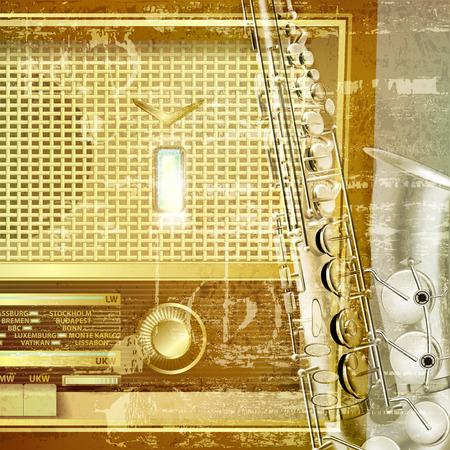 radio retr�: astratto verde grunge suono di sottofondo con radio retr� e sassofono Vettoriali