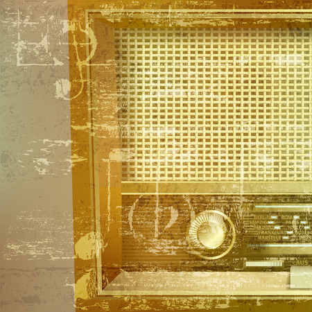 retro radio: abstract green sound grunge background with retro radio