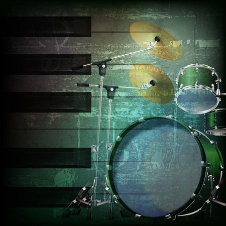 drum kit: abstract dark green grunge background with drum kit