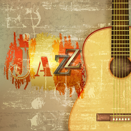 jazz guitar: abstract green sound grunge background with acoustic guitar and word Jazz Illustration
