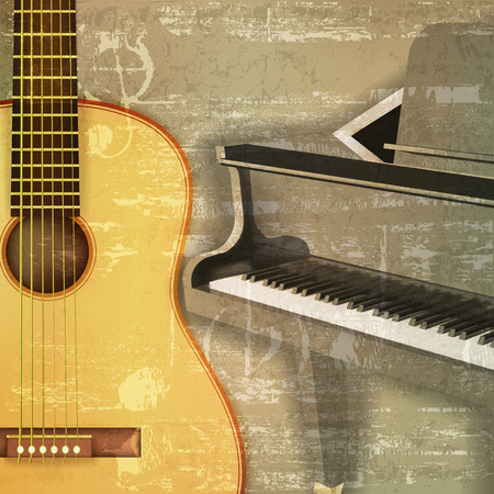 abstract green sound grunge background with grand piano and guitar Иллюстрация