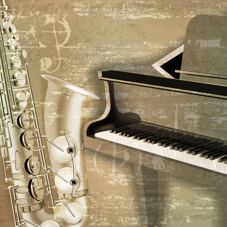 abstract green sound grunge background with grand piano and saxophone