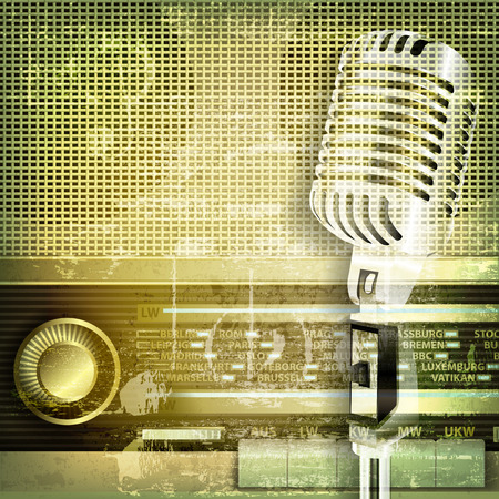 retro radio: abstract green sound grunge background with microphone and retro radio
