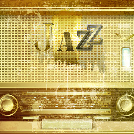 retro radio: abstract green sound grunge background with retro radio and word Jazz