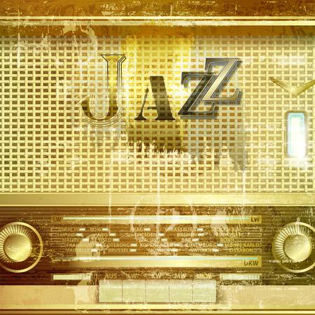 radio retr�: astratto verde grunge suono di sottofondo con radio retr� e la parola Jazz