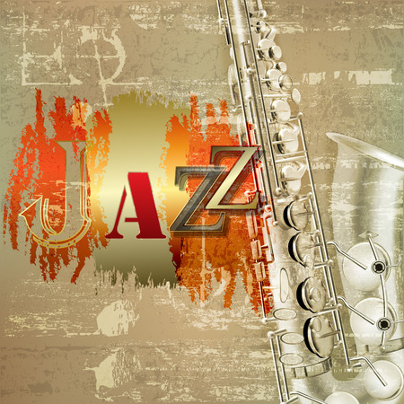 サックスと赤の音のグランジ背景を抽象化し、単語のジャズ