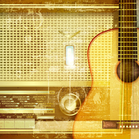 retro radio: abstract sound grunge background with retro radio and guitar