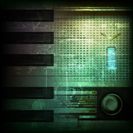 retro radio: abstract dark green grunge background with retro radio