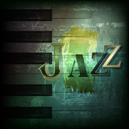 abstract dark green grunge background with word Jazz
