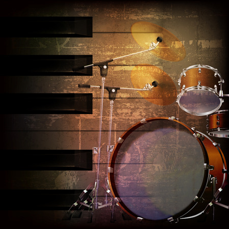 drum kit: abstract brown grunge music background with drum kit