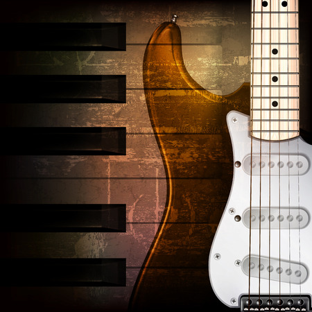 abstract brown grunge music background with electric guitar Vector