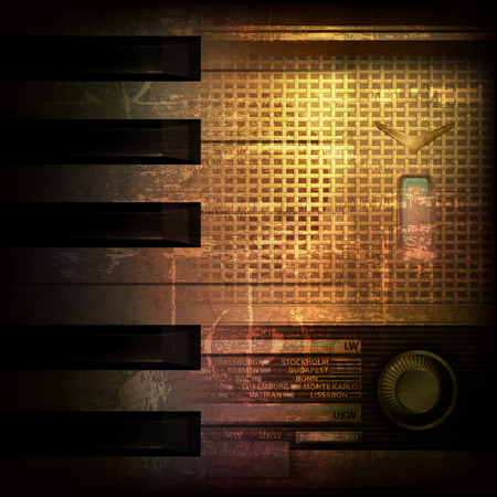 retro radio: abstract brown grunge music background with retro radio