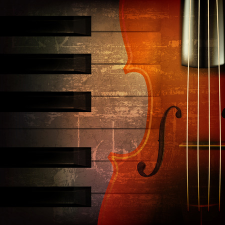abstract brown grunge music background with violin Çizim