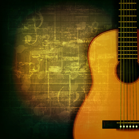 abstract green grunge music background with acoustic guitar Vector