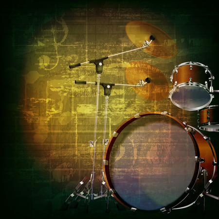 old sheet music: abstract green grunge music background with drum kit