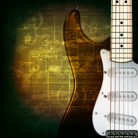 abstract green grunge music background with electric guitar
