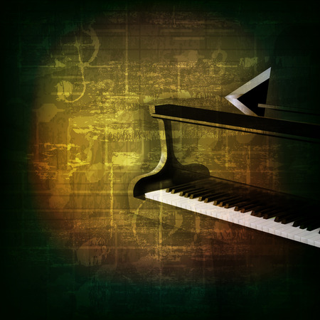 abstract green grunge music background with grand piano Vector